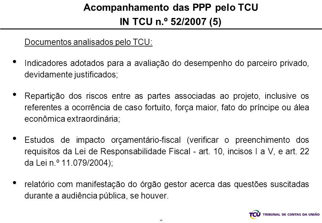 44 Acompanhamento das PPP pelo TCU IN TCU n.º 52/2007 (5) Documentos analisados pelo TCU: Indicadores adotados para a avaliação do desempenho do parce
