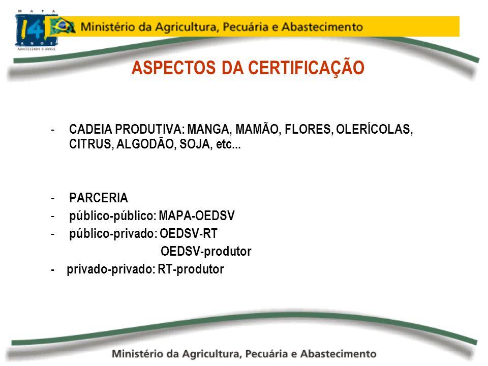 - CADEIA PRODUTIVA: MANGA, MAMÃO, FLORES, OLERÍCOLAS, CITRUS, ALGODÃO, SOJA, etc... - PARCERIA - público-público: MAPA-OEDSV - público-privado: OEDSV-