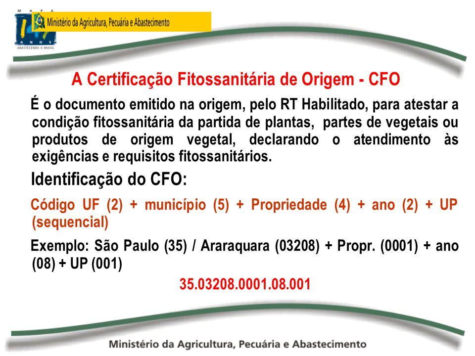 A Certificação Fitossanitária de Origem - CFO É o documento emitido na origem, pelo RT Habilitado, para atestar a condição fitossanitária da partida d