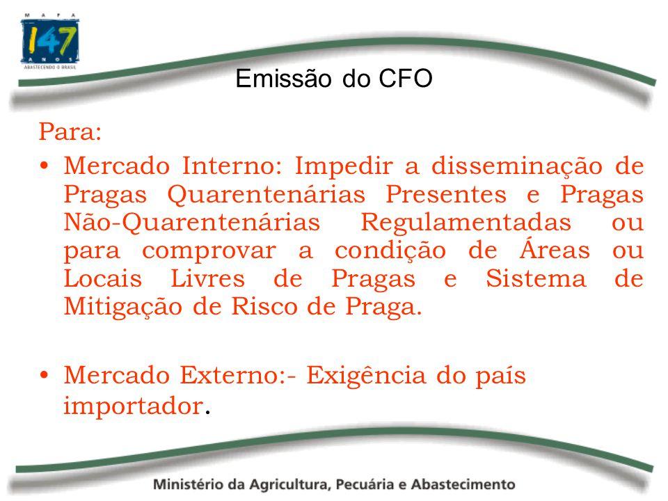 Emissão do CFO Para: Mercado Interno: Impedir a disseminação de Pragas Quarentenárias Presentes e Pragas Não-Quarentenárias Regulamentadas ou para com