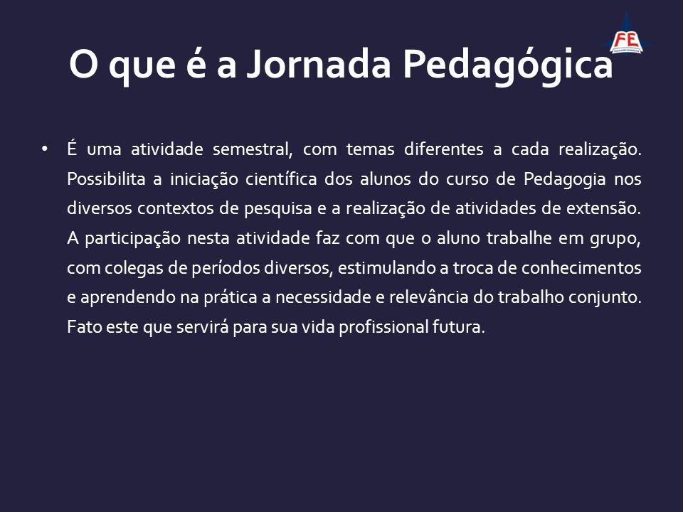 O que é a Jornada Pedagógica É uma atividade semestral, com temas diferentes a cada realização. Possibilita a iniciação científica dos alunos do curso