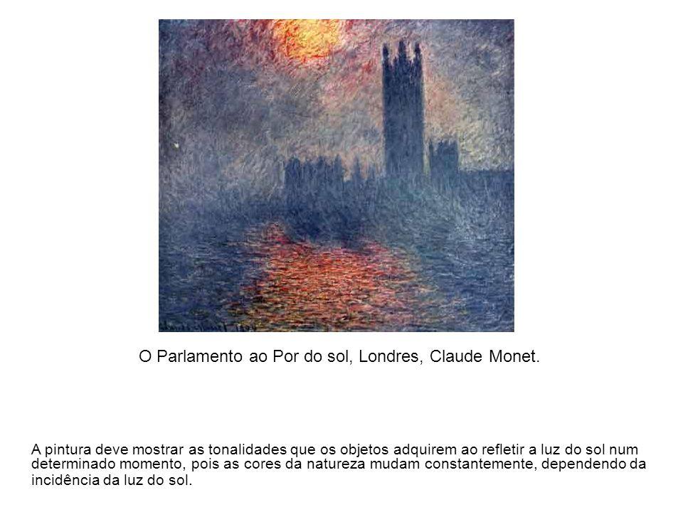 O Parlamento ao Por do sol, Londres, Claude Monet. A pintura deve mostrar as tonalidades que os objetos adquirem ao refletir a luz do sol num determin