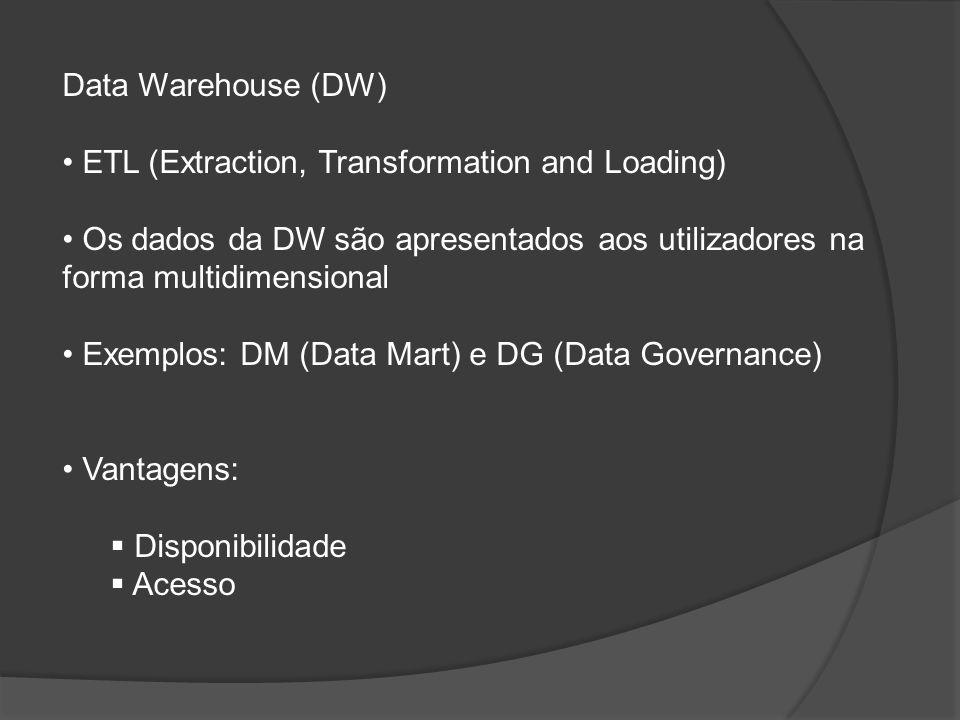 Data Warehouse (DW) ETL (Extraction, Transformation and Loading) Os dados da DW são apresentados aos utilizadores na forma multidimensional Exemplos:
