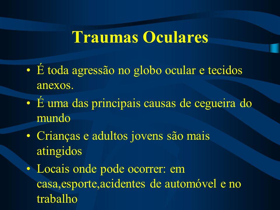 Traumas Oculares É toda agressão no globo ocular e tecidos anexos. É uma das principais causas de cegueira do mundo Crianças e adultos jovens são mais