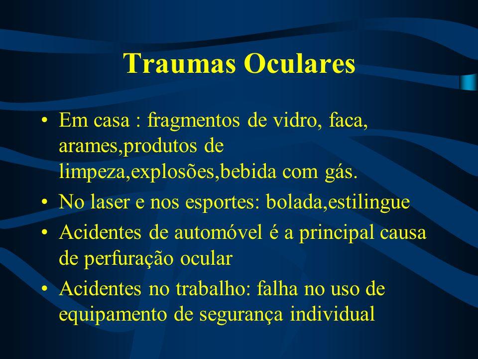 Traumas Oculares Em casa : fragmentos de vidro, faca, arames,produtos de limpeza,explosões,bebida com gás. No laser e nos esportes: bolada,estilingue