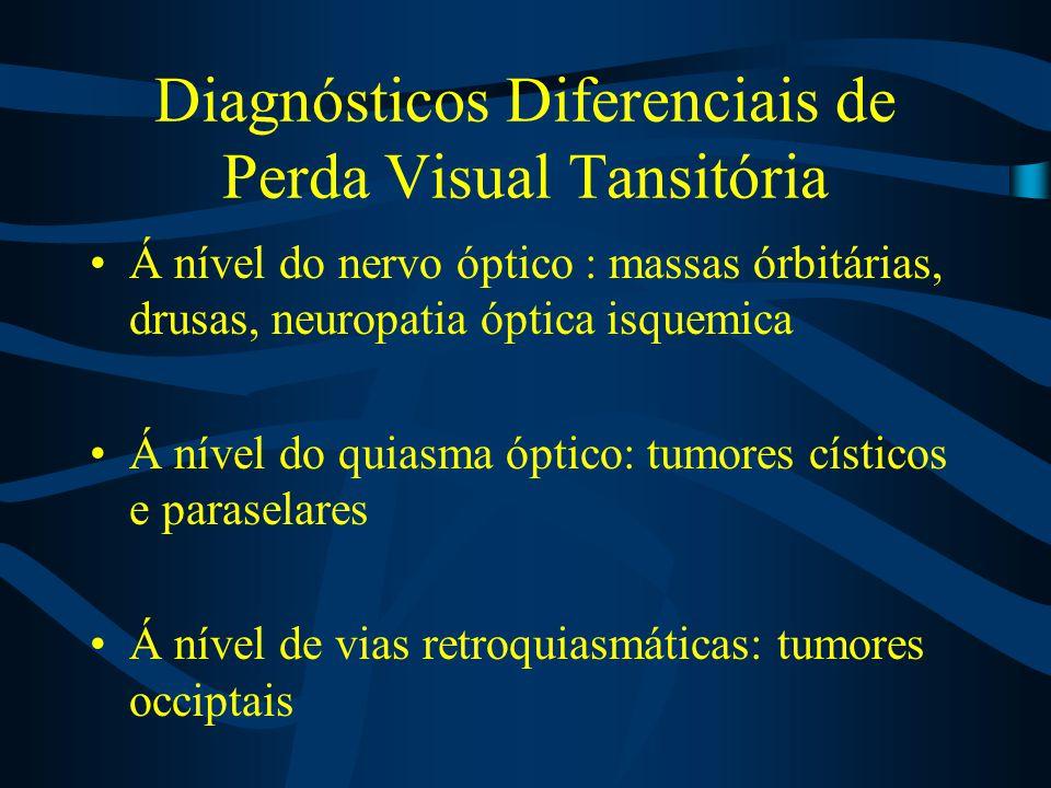 Diagnósticos Diferenciais de Perda Visual Tansitória Á nível do nervo óptico : massas órbitárias, drusas, neuropatia óptica isquemica Á nível do quias