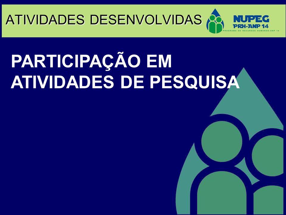 ATIVIDADES DESENVOLVIDAS PARTICIPAÇÃO EM ATIVIDADES DE PESQUISA