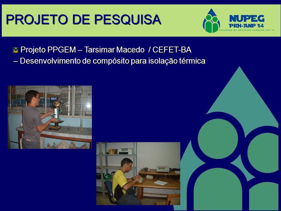 PROJETO DE PESQUISA Projeto PPGEM – Tarsimar Macedo / CEFET-BA Projeto PPGEM – Tarsimar Macedo / CEFET-BA – Desenvolvimento de compósito para isolação