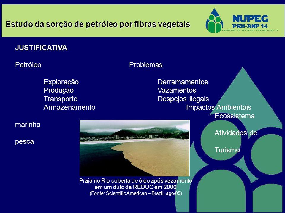 Estudo da sorção de petróleo por fibras vegetais JUSTIFICATIVA PetróleoProblemas ExploraçãoDerramamentos ProduçãoVazamentos TransporteDespejos ilegais