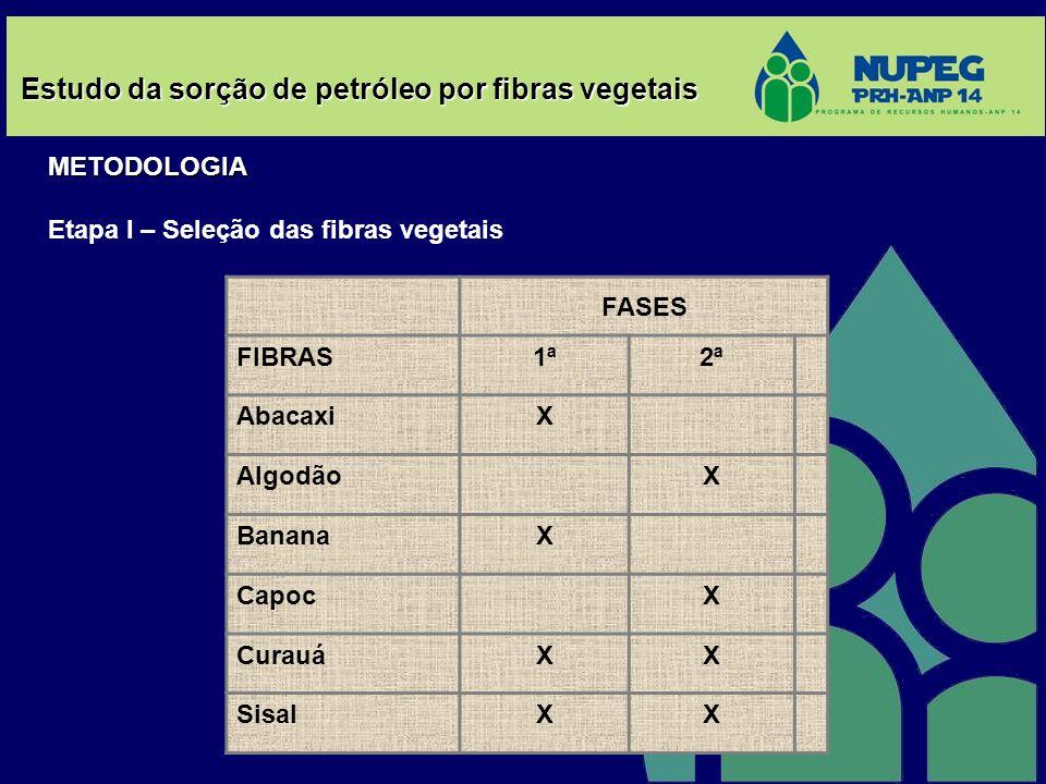 Estudo da sorção de petróleo por fibras vegetais METODOLOGIA Etapa I – Seleção das fibras vegetais FASES FIBRAS1ª2ª AbacaxiX AlgodãoX BananaX CapocX C