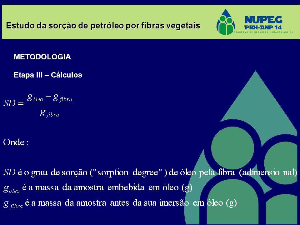 Estudo da sorção de petróleo por fibras vegetais METODOLOGIA Etapa III – Cálculos