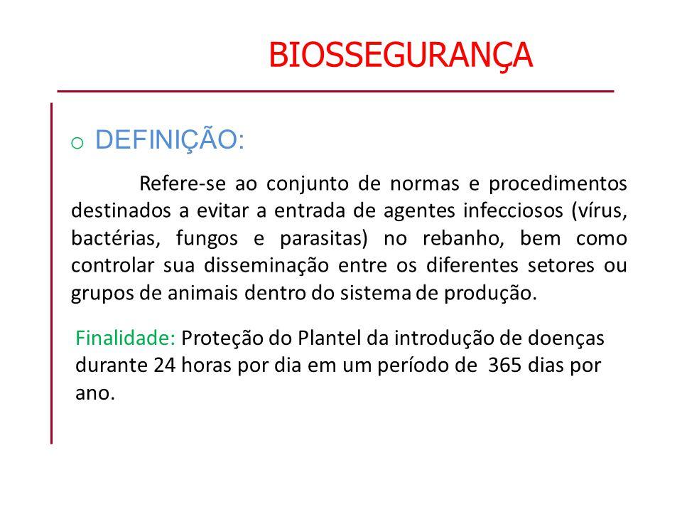 BIOSSEGURANÇA o DEFINIÇÃO: Refere-se ao conjunto de normas e procedimentos destinados a evitar a entrada de agentes infecciosos (vírus, bactérias, fun