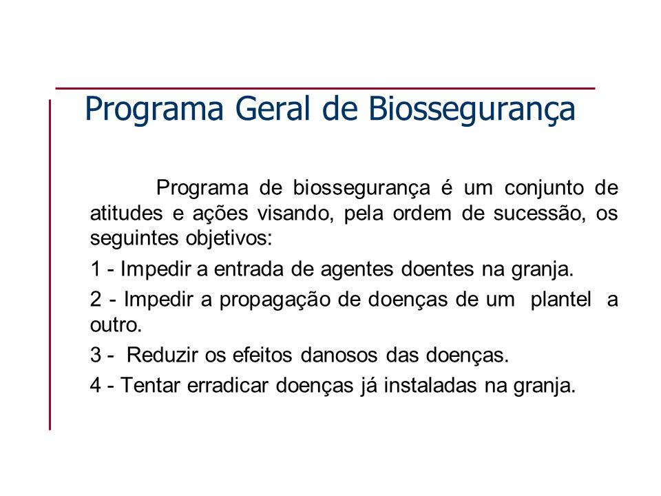 Programa Geral de Biossegurança Programa de biossegurança é um conjunto de atitudes e ações visando, pela ordem de sucessão, os seguintes objetivos: 1