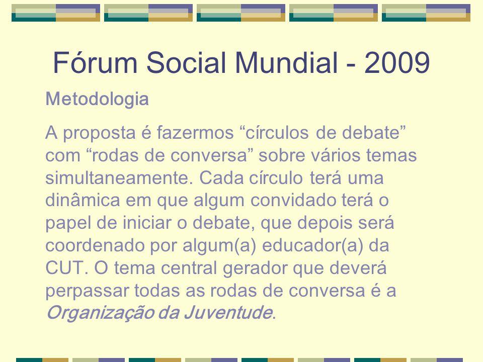 Fórum Social Mundial - 2009 Metodologia A proposta é fazermos círculos de debate com rodas de conversa sobre vários temas simultaneamente.