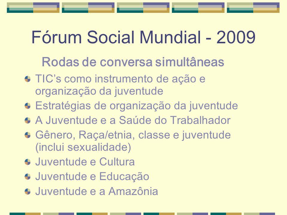 Fórum Social Mundial - 2009 TICs como instrumento de ação e organização da juventude Estratégias de organização da juventude A Juventude e a Saúde do Trabalhador Gênero, Raça/etnia, classe e juventude (inclui sexualidade) Juventude e Cultura Juventude e Educação Juventude e a Amazônia Rodas de conversa simultâneas