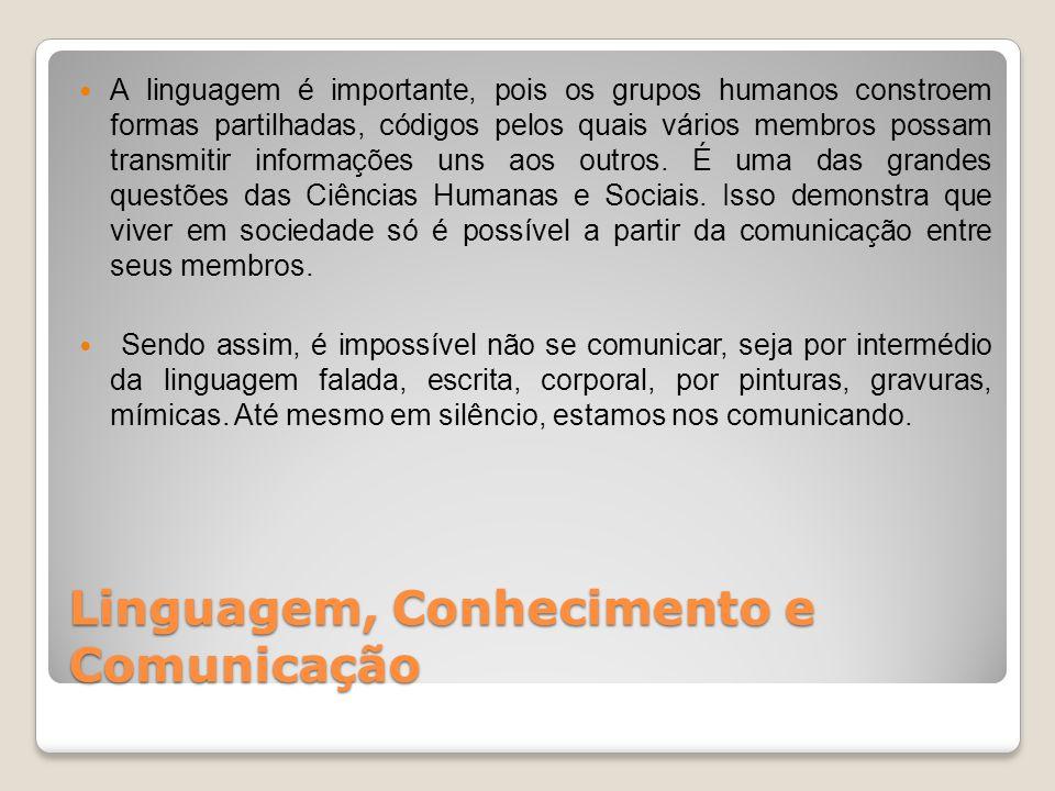 A linguagem é importante, pois os grupos humanos constroem formas partilhadas, códigos pelos quais vários membros possam transmitir informações uns aos outros.