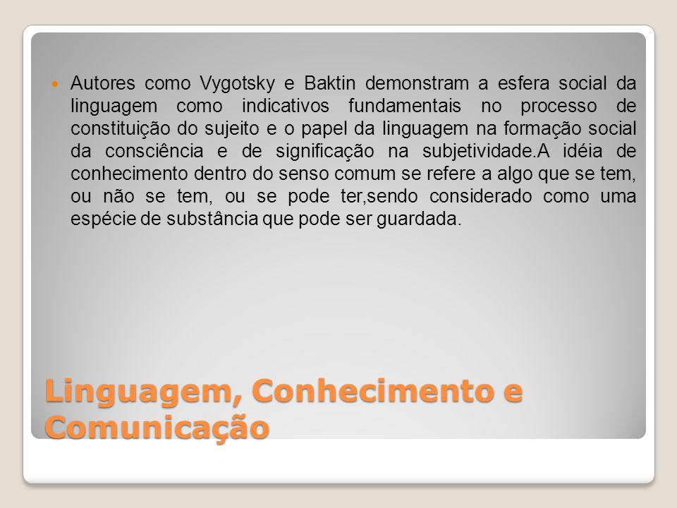 Linguagem, Conhecimento e Comunicação Existem conhecimentos verdadeiros e falsos, como se houvesse uma essência.