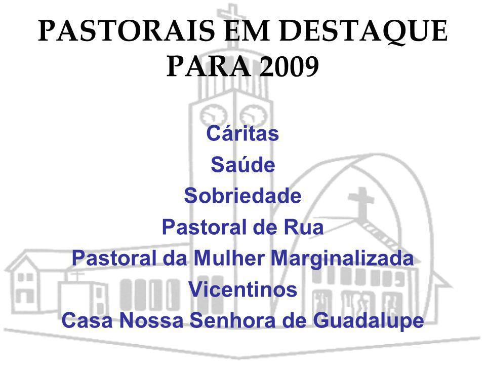 ATIVIDADES PARA 2009 Assembléia paroquial para avaliação e programação das atividades a serem realizadas em torno do tema Vida Solidária. Realizar um
