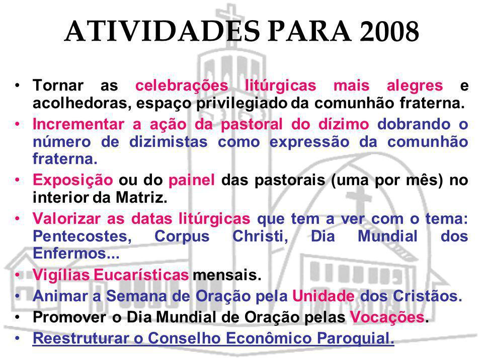 ATIVIDADES PARA 2008 Assembléia paroquial para avaliação e programação das atividades a serem realizadas em torno do tema comunhão fraterna. Realizar