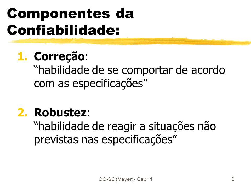 OO-SC (Meyer) - Cap 112 Componentes da Confiabilidade: 1.Correção: habilidade de se comportar de acordo com as especificações 2.Robustez: habilidade de reagir a situações não previstas nas especificações