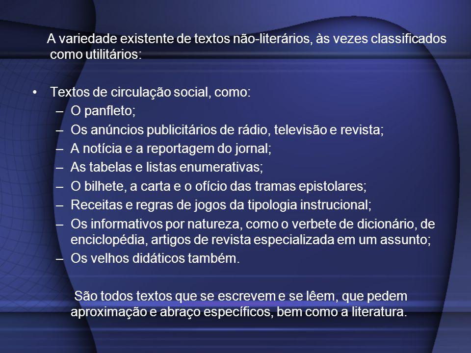 A variedade existente de textos não-literários, às vezes classificados como utilitários: Textos de circulação social, como: –O panfleto; –Os anúncios