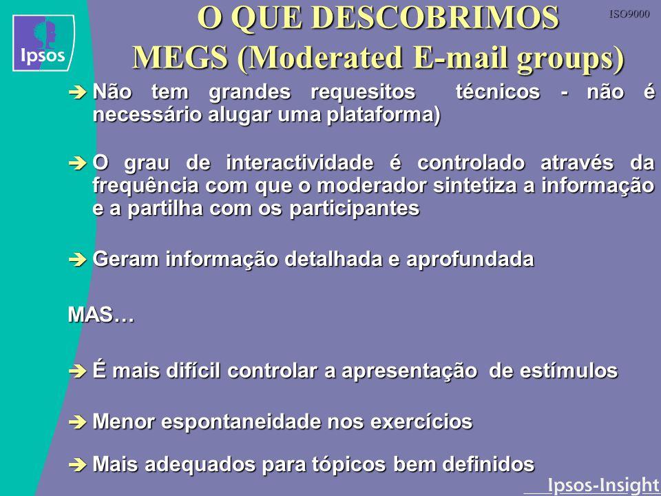 ISO9000 O QUE DESCOBRIMOS MEGS (Moderated E-mail groups) Não tem grandes requesitos técnicos - não é necessário alugar uma plataforma) Não tem grandes