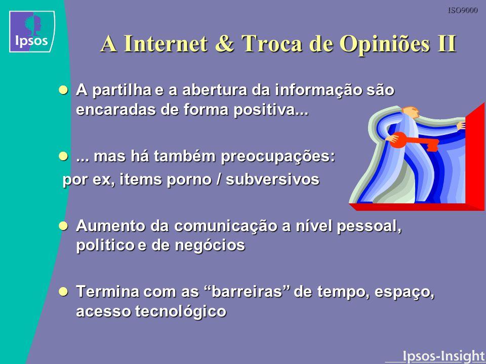 ISO9000 A Internet & Troca de Opiniões II A partilha e a abertura da informação são encaradas de forma positiva... A partilha e a abertura da informaç