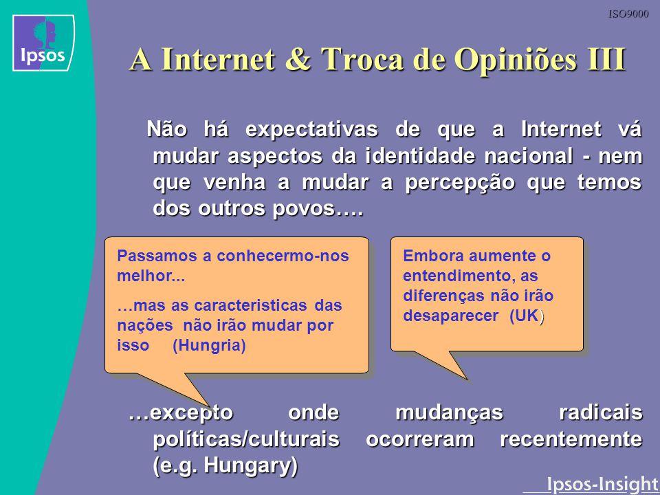 ISO9000 Não há expectativas de que a Internet vá mudar aspectos da identidade nacional - nem que venha a mudar a percepção que temos dos outros povos…