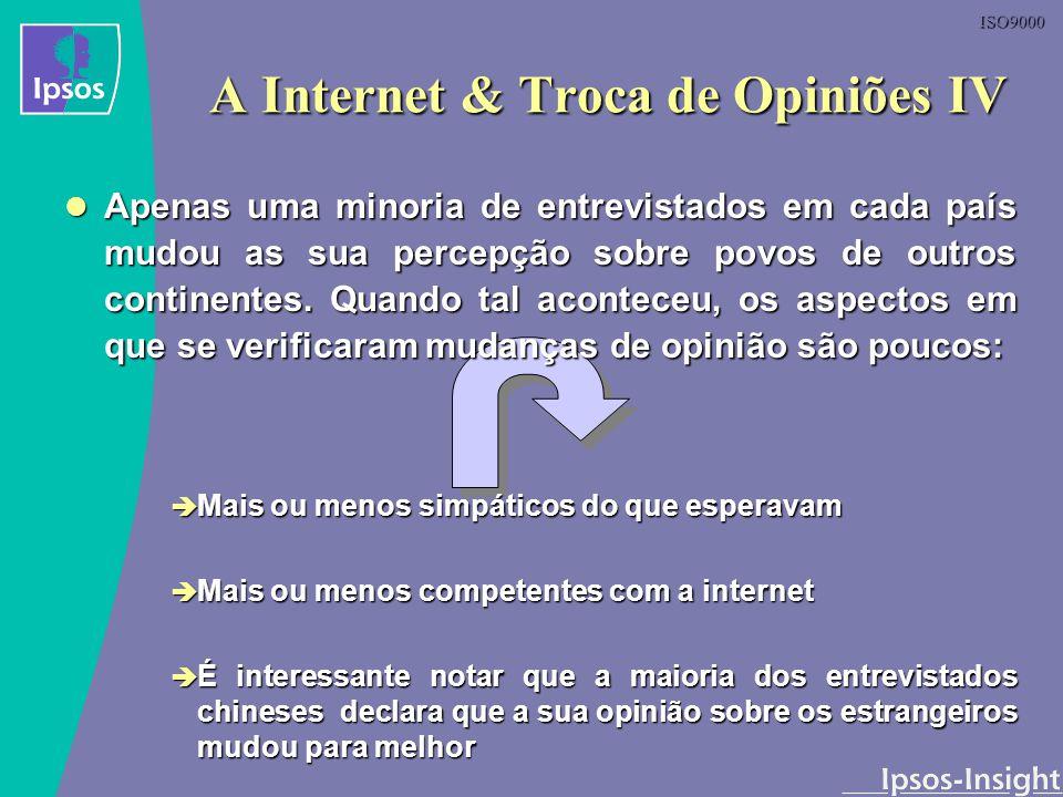 ISO9000 A Internet & Troca de Opiniões IV Apenas uma minoria de entrevistados em cada país mudou as sua percepção sobre povos de outros continentes. Q