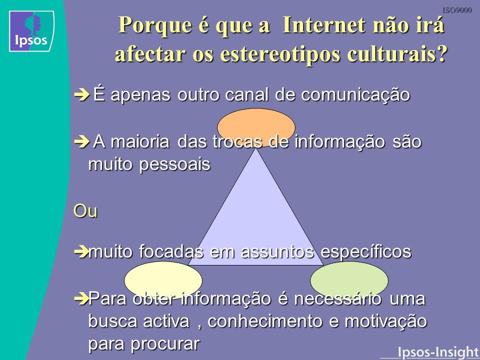 ISO9000 Porque é que a Internet não irá afectar os estereotipos culturais? É apenas outro canal de comunicação É apenas outro canal de comunicação A m