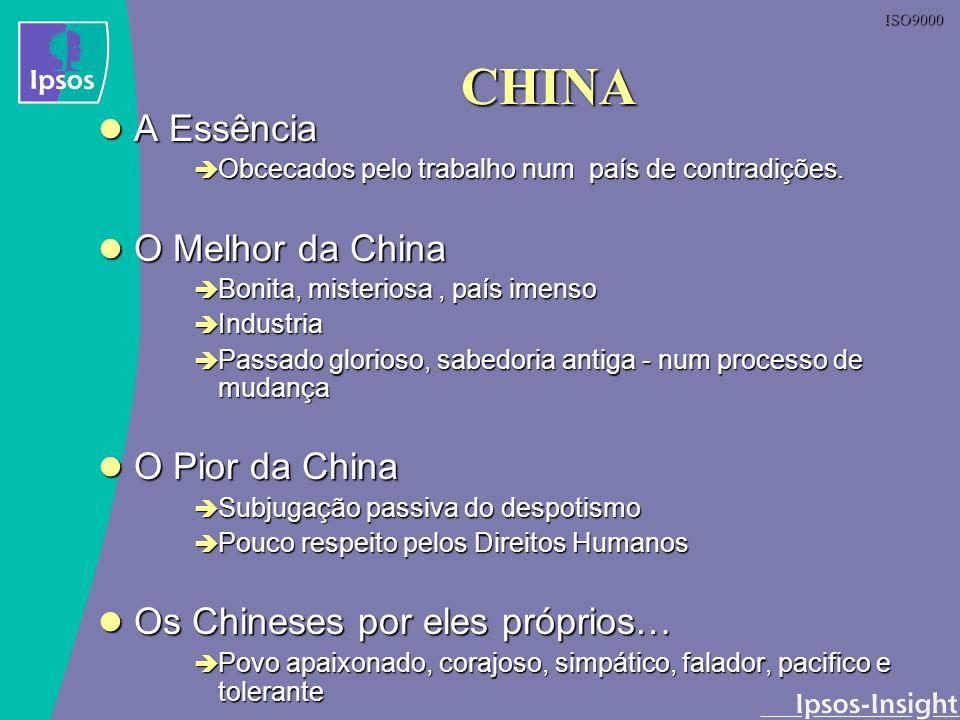 ISO9000 CHINA A Essência A Essência Obcecados pelo trabalho num país de contradições. Obcecados pelo trabalho num país de contradições. O Melhor da Ch