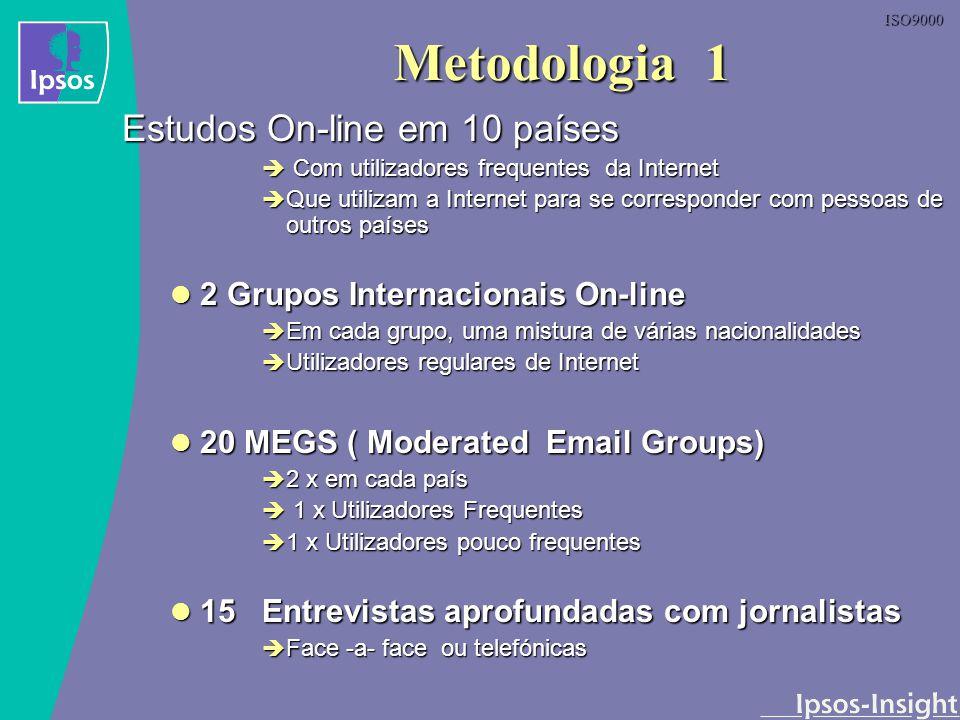 ISO9000 Metodologia 2 Grupos Online Pré-recrutamento com critérios específicos Pré-recrutamento com critérios específicos 4-8 participantes 4-8 participantes Verificação e validação da identidade antes da entrada no grupo Verificação e validação da identidade antes da entrada no grupo Duração dos grupos : 1 – 2 horas Duração dos grupos : 1 – 2 horas Participantes e moderador comunicam através de um estúdio virtual online Participantes e moderador comunicam através de um estúdio virtual online As perguntas e respostas são dactilografadas As perguntas e respostas são dactilografadas A gravação daquilo que o moderador e os participantes escrevem é feita no écran do estúdio virtual A gravação daquilo que o moderador e os participantes escrevem é feita no écran do estúdio virtual Clientes e moderador comunicam através de uma sala virtual Clientes e moderador comunicam através de uma sala virtual