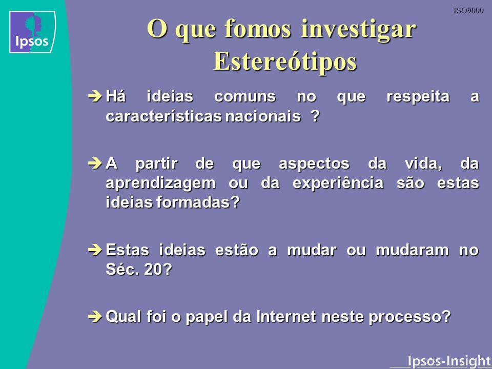 ISO9000 O que fomos investigar Estereótipos Há ideias comuns no que respeita a características nacionais ? Há ideias comuns no que respeita a caracter