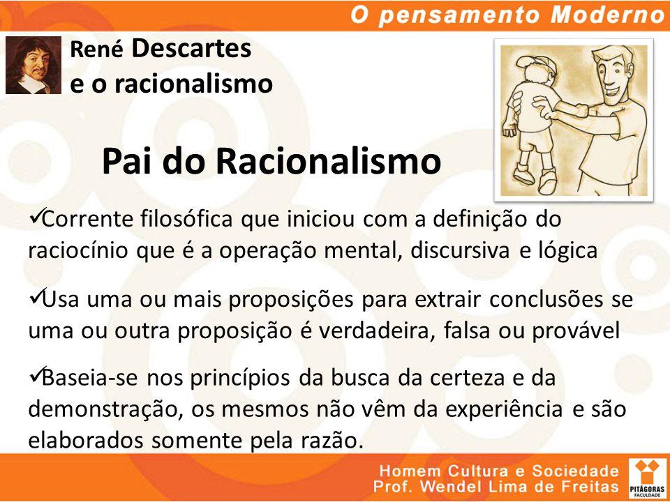 René Descartes e o racionalismo Pai do Racionalismo Corrente filosófica que iniciou com a definição do raciocínio que é a operação mental, discursiva
