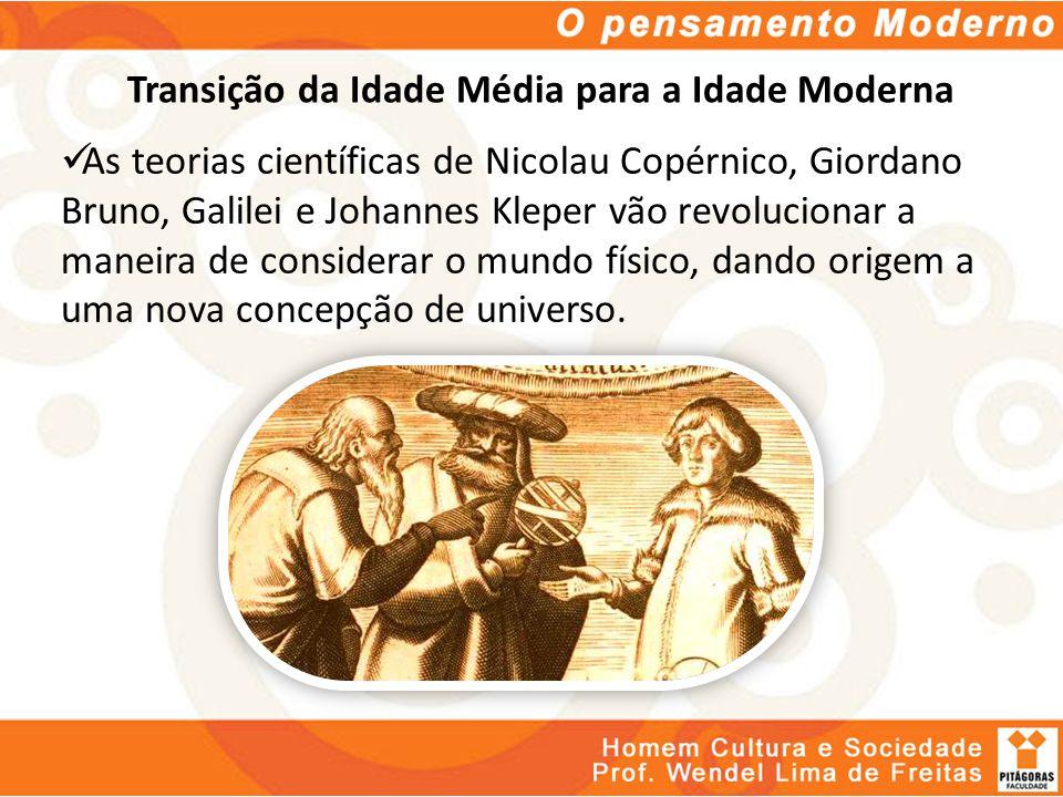 Transição da Idade Média para a Idade Moderna As teorias científicas de Nicolau Copérnico, Giordano Bruno, Galilei e Johannes Kleper vão revolucionar