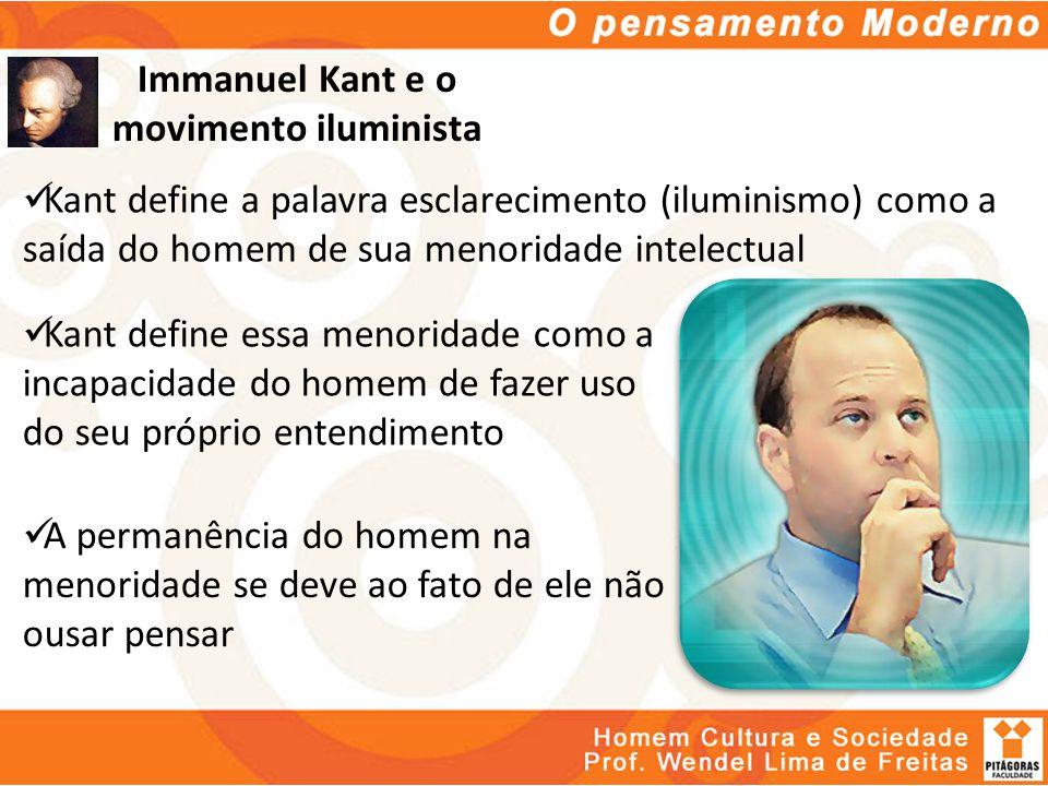 Immanuel Kant e o movimento iluminista Kant define a palavra esclarecimento (iluminismo) como a saída do homem de sua menoridade intelectual Kant defi
