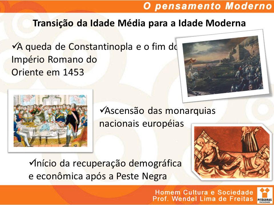 Transição da Idade Média para a Idade Moderna A queda de Constantinopla e o fim do Império Romano do Oriente em 1453 Ascensão das monarquias nacionais