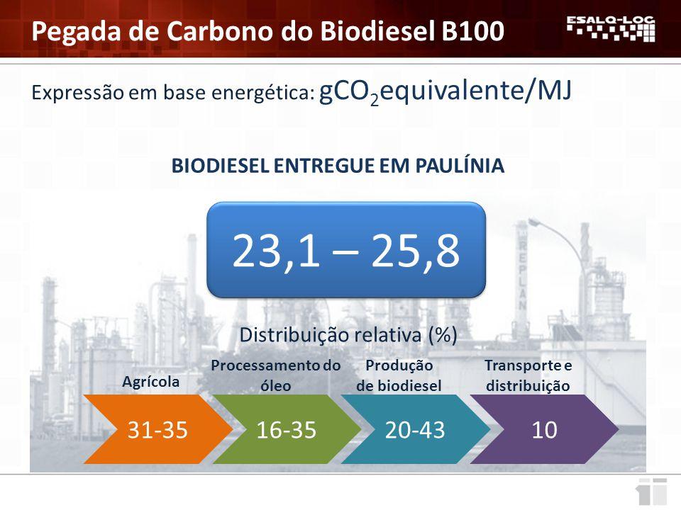 Expressão em base energética: gCO 2 equivalente/MJ BIODIESEL ENTREGUE EM PAULÍNIA 23,1 – 25,8 Distribuição relativa (%) 31-35 Agrícola 16-35 Processamento do óleo 20-43 Produção de biodiesel 10 Transporte e distribuição Pegada de Carbono do Biodiesel B100