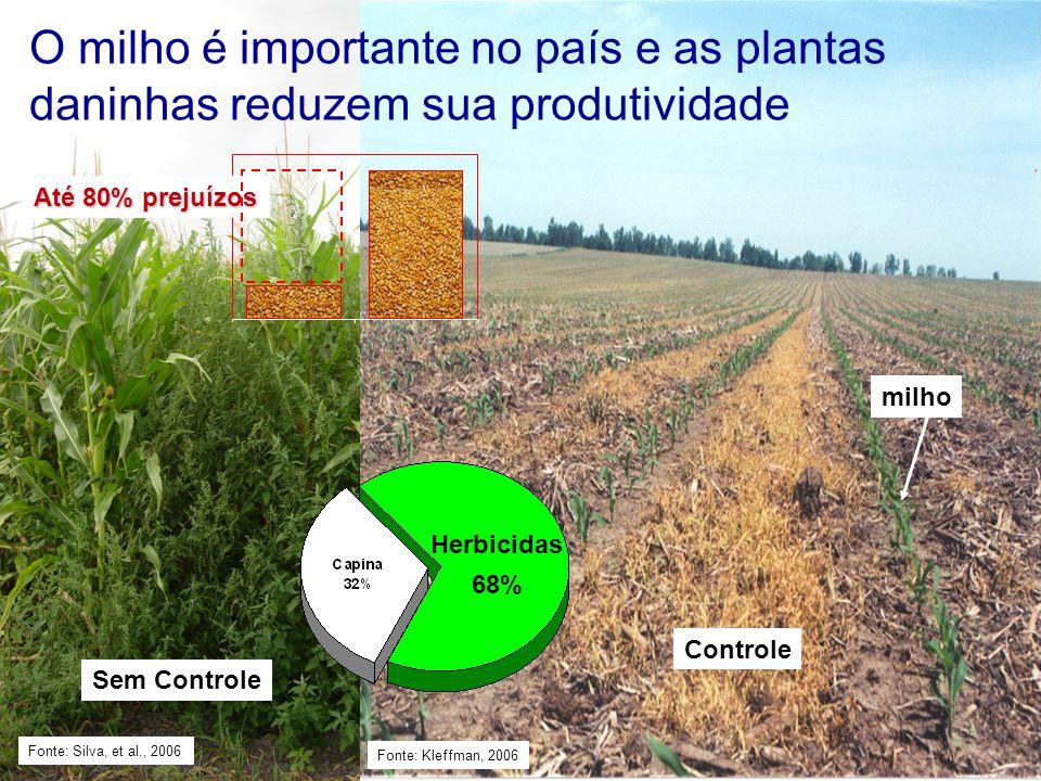 Controle O milho é importante no país e as plantas daninhas reduzem sua produtividade Fonte: Kleffman, 2006 Herbicidas 68% Até 80% prejuízos Fonte: Si