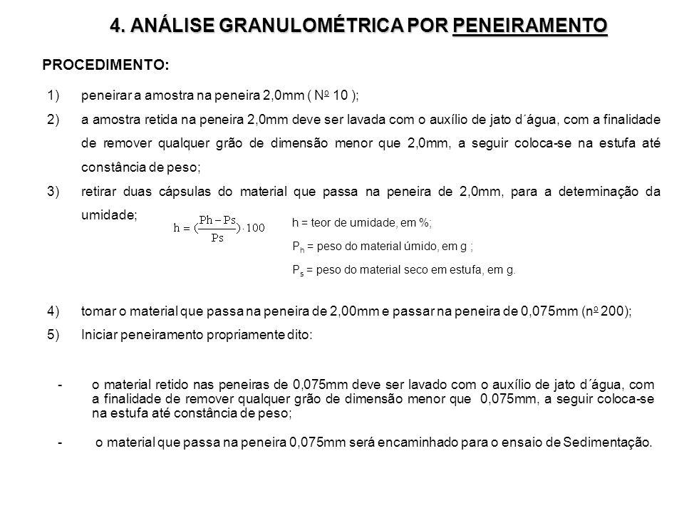 4. ANÁLISE GRANULOMÉTRICA POR PENEIRAMENTO -o material retido nas peneiras de 0,075mm deve ser lavado com o auxílio de jato d´água, com a finalidade d