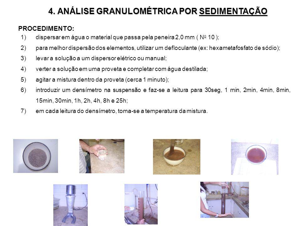 4. ANÁLISE GRANULOMÉTRICA POR SEDIMENTAÇÃO PROCEDIMENTO: 1)dispersar em água o material que passa pela peneira 2,0 mm ( N o 10 ); 2)para melhor disper