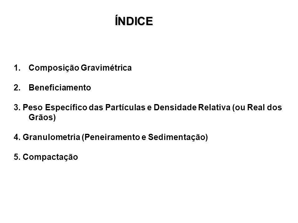 1.Composição Gravimétrica 2.Beneficiamento 3. Peso Específico das Partículas e Densidade Relativa (ou Real dos Grãos) 4. Granulometria (Peneiramento e