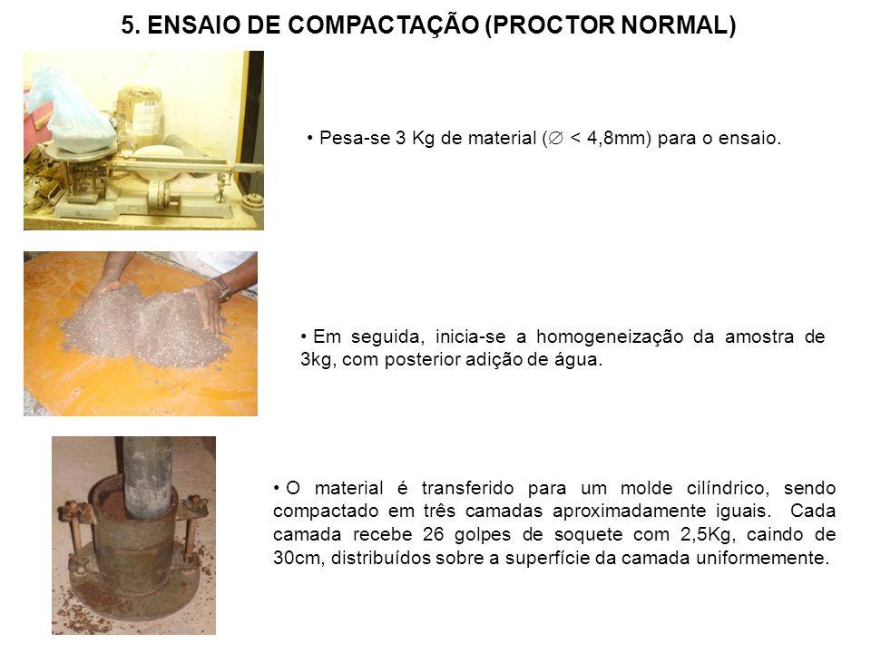 Pesa-se 3 Kg de material ( < 4,8mm) para o ensaio. Em seguida, inicia-se a homogeneização da amostra de 3kg, com posterior adição de água. O material
