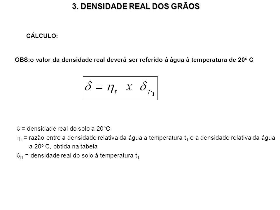 3. DENSIDADE REAL DOS GRÃOS CÁLCULO: OBS:o valor da densidade real deverá ser referido à água à temperatura de 20 o C = densidade real do solo a 20°C