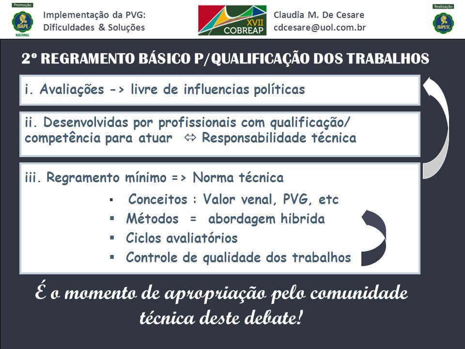2º REGRAMENTO BÁSICO P/QUALIFICAÇÃO DOS TRABALHOS Claudia M.