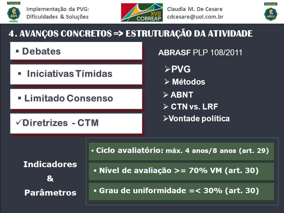 Claudia M. De Cesare cdcesare@uol.com.br Implementação da PVG: Dificuldades & Soluções 4.
