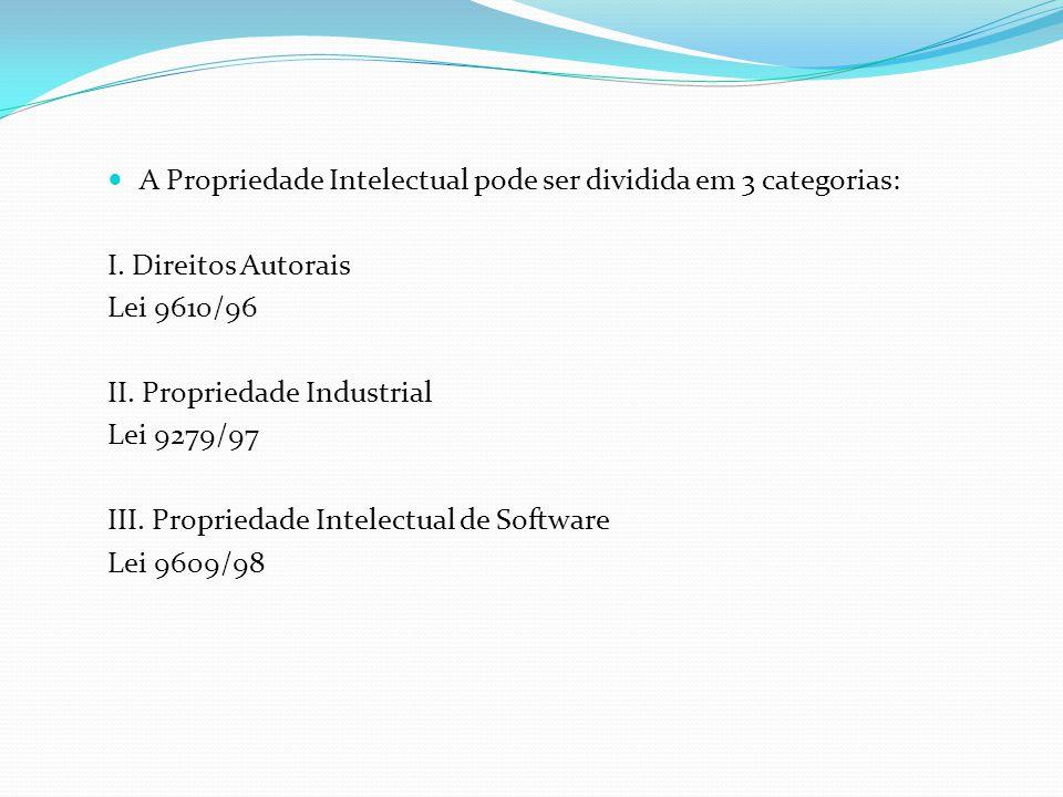 A Propriedade Intelectual pode ser dividida em 3 categorias: I.