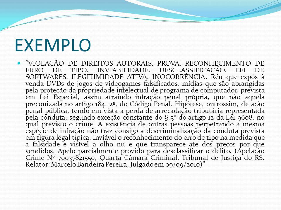 EXEMPLO VIOLAÇÃO DE DIREITOS AUTORAIS.PROVA. RECONHECIMENTO DE ERRO DE TIPO.