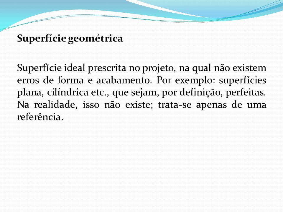 Superfície geométrica Superfície ideal prescrita no projeto, na qual não existem erros de forma e acabamento. Por exemplo: superfícies plana, cilíndri