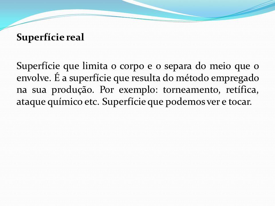 Superfície real Superfície que limita o corpo e o separa do meio que o envolve. É a superfície que resulta do método empregado na sua produção. Por ex